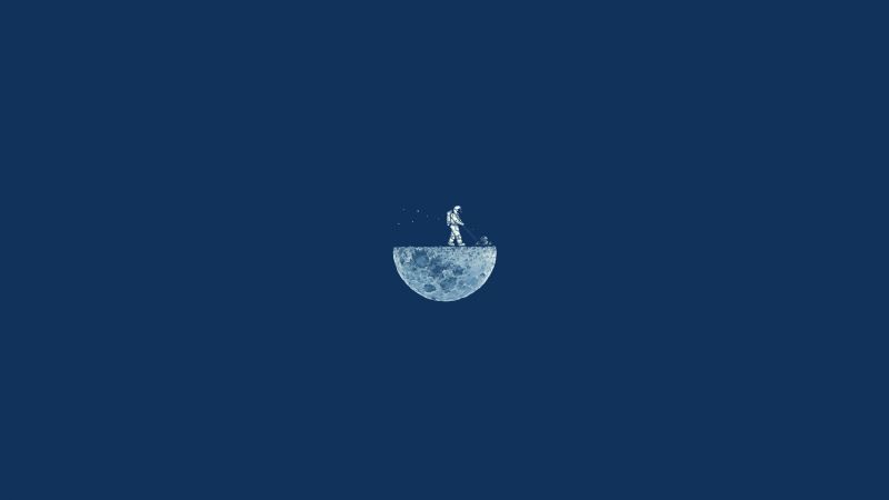 Moon Mow, 4k, HD, moon, minimalism, iphone wallpaper, astronaut, blue (horizontal)