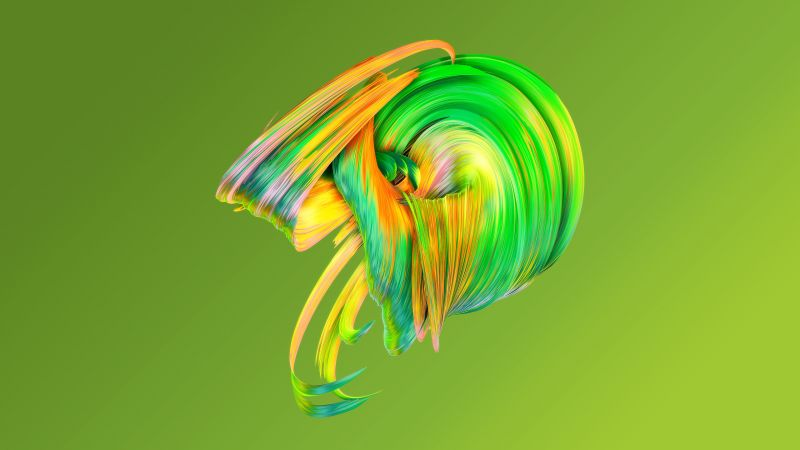 HD, abstract, Paintwaves, green (horizontal)