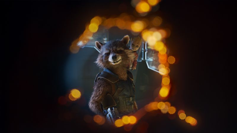 Guardians of the Galaxy Vol. 2, Baby Groot, Rocket, 4k (horizontal)