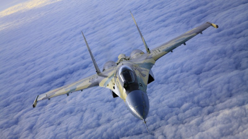 Su-35S, Sukhoi, Super Flanker, air superiority fighter, Russian Air Force (horizontal)