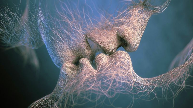 love image, kiss, 4k, veins (horizontal)