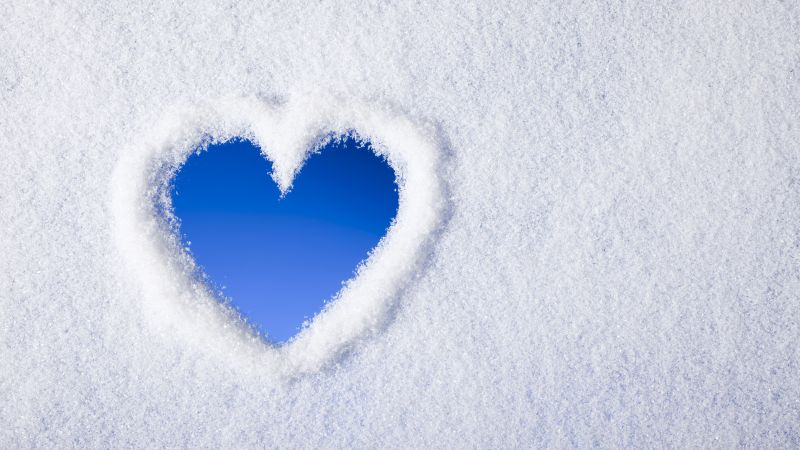 love image, heart, , snow, 4k (horizontal)