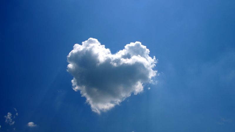 love image, heart, clouds, 4k (horizontal)