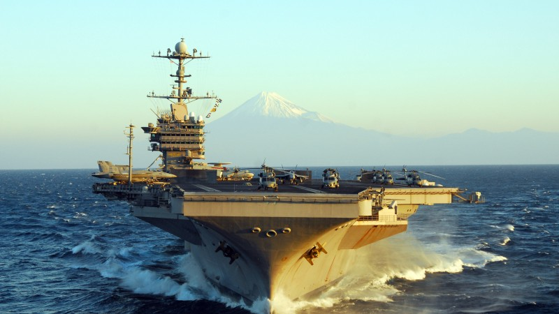 USS George Washington, CVN-73, aircraft carrier, Nimitz class, U.S.Navy, mountain, Fuji Japan (horizontal)
