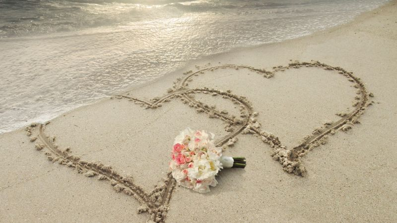 love image, heart, 8k, beach (horizontal)