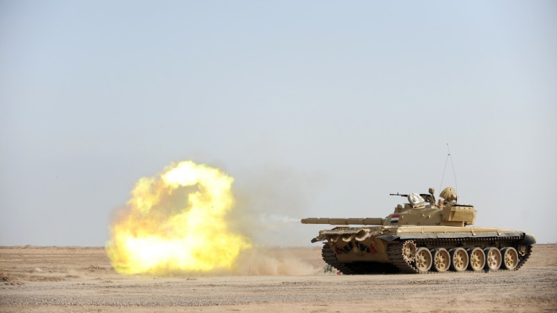 T-72B3, tank, second-generation, firing, desert (horizontal)