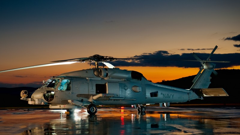 SH-60, Sikorsky, MH-60, Sea Hawk, multimission maritime helicopter, U.S. Navy, MEDEVAC, sunset (horizontal)