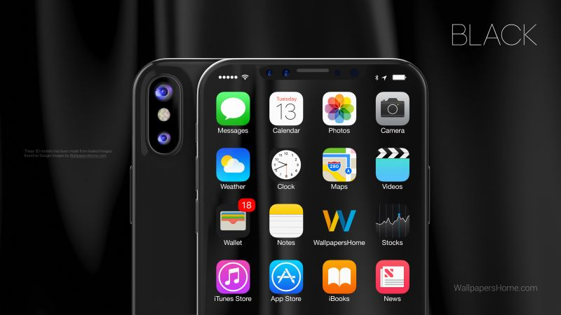 iPhone X, black, 3D, leaked, WWDC 2017, 4k (horizontal)