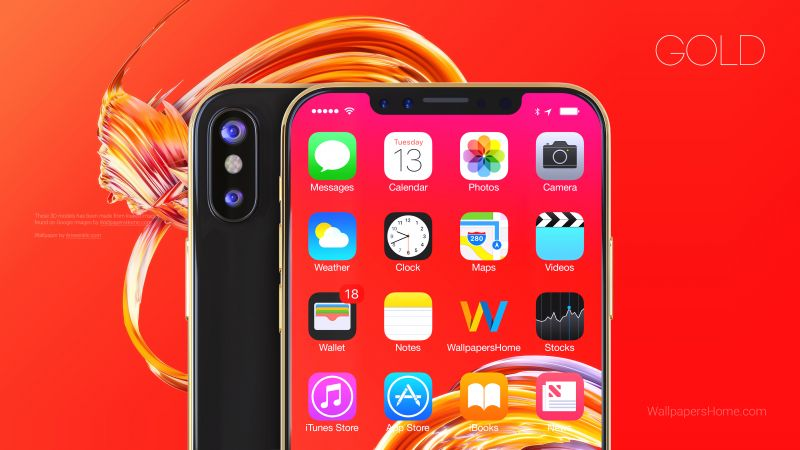 iPhone X, gold, 3D, leaked, WWDC 2017, 4k (horizontal)