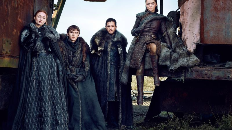 Game of Thrones Season 7, Jon Snow, Arya Stark, Brandon Stark, Sansa Stark, Kit Harington, Maisie Williams, Sophie Turner, TV Series, 4k (horizontal)