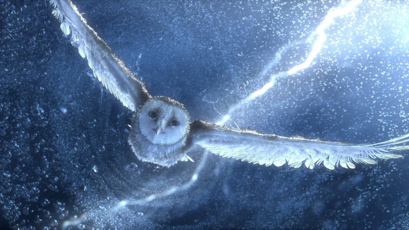 Owl, flying, snow, storm, lightning, blue, bird, art (horizontal)