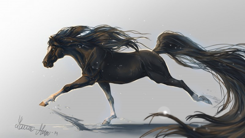 horse, hooves, 5k, 4k wallpaper, mane, galloping, black, white background, art,  (horizontal)