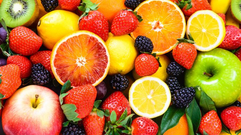 fruit, apple, orange, strawberry, lemon, blackberry, 5k (horizontal)