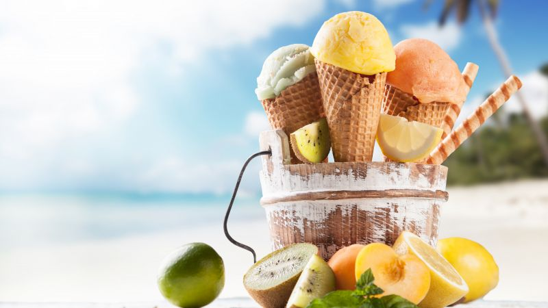 ice cream, beach, lemon, apricot, lime, delicious, 8k (horizontal)