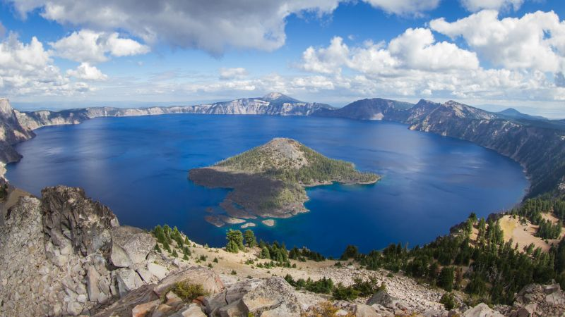 Crater Lake, USA, mountain, nature, 4k (horizontal)