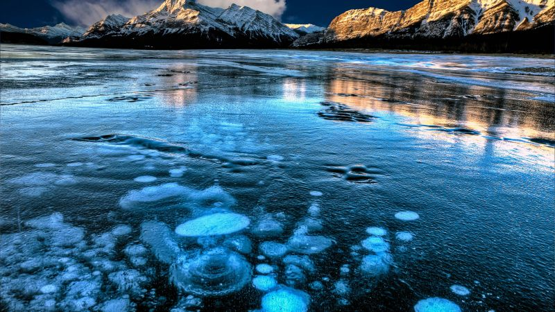 Abraham Lake, Canada, mountain, ice, 4k (horizontal)