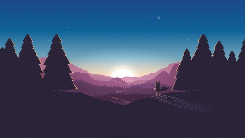forest, sunset, fox, 4k (horizontal)