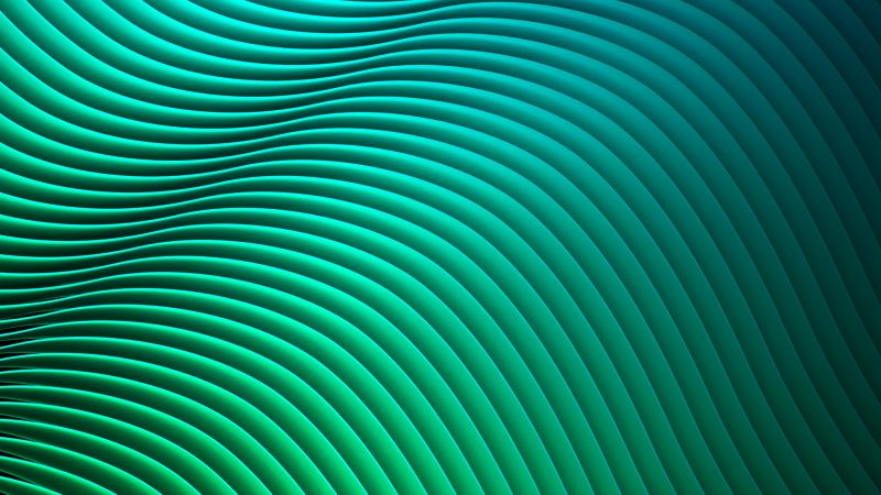 waves, lines, green, HD (horizontal)
