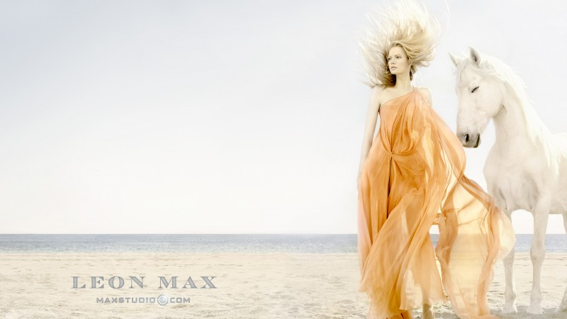 Katia Elizarova, model, blonde, horse, beach, yellow, sand, sea, wind (horizontal)