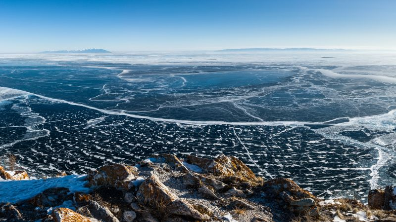 Lake Baikal, ice, 8k (horizontal)