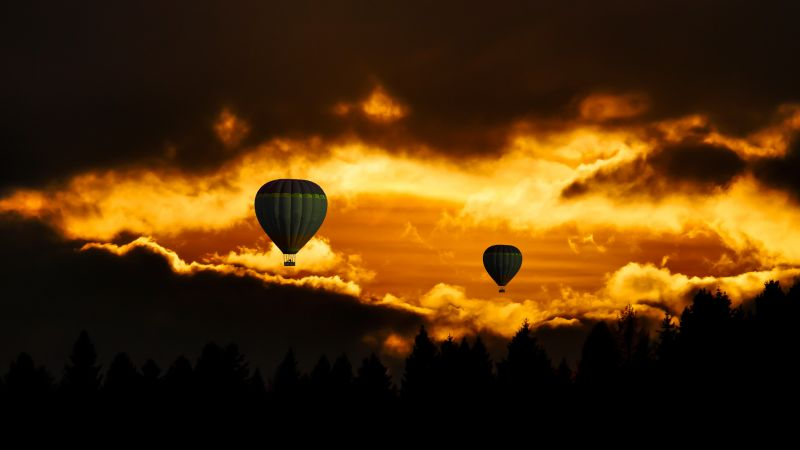 clouds, sky, balloon, forest, sunset, 8k (horizontal)