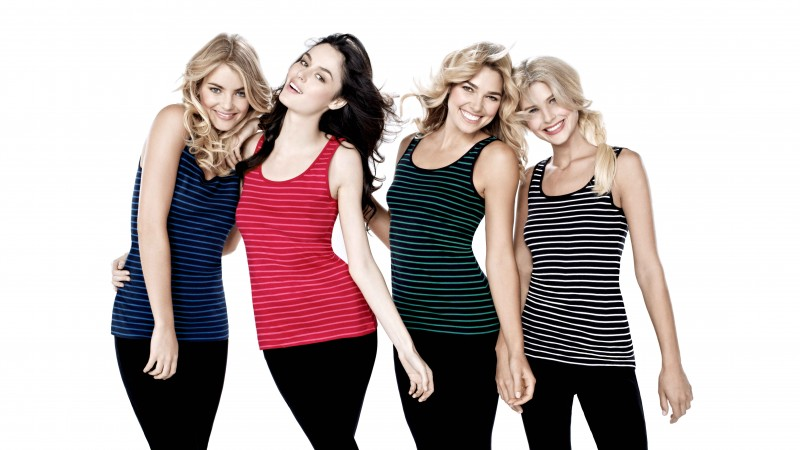 Elyse Taylor, Nicole Trunfio, Ashley Hart, Sophie Van Den Akker, model, blonde, brunette, T-shirt, red, green, black, white background (horizontal)