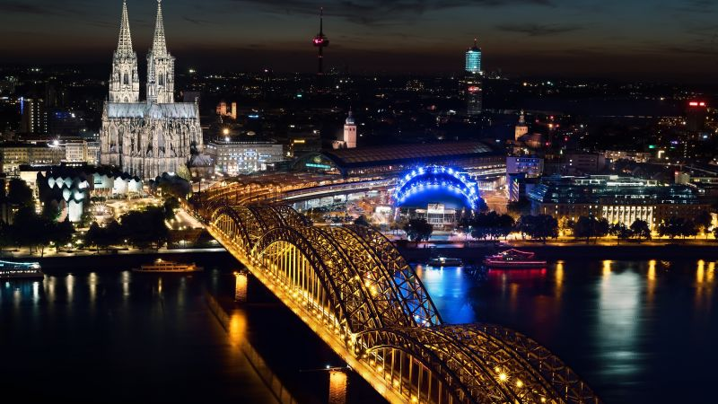 Cologne Cathedral, Hohenzollern bridge, Germany, Cologne, Europe, night, 5k (horizontal)