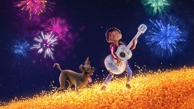 Coco, guitar, dog, 4k (horizontal)