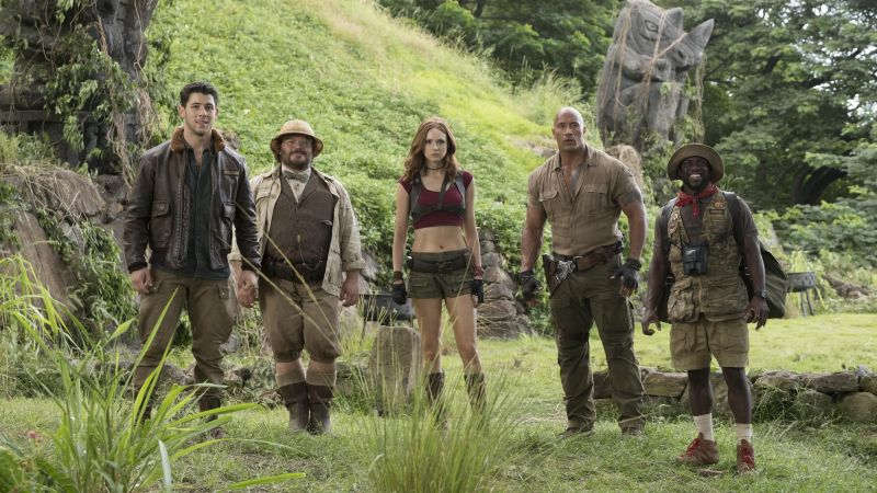 Jumanji: Welcome to the Jungle, Jack Black, Kevin Hart, Dwayne Johnson, Karen Gillan, 5k (horizontal)