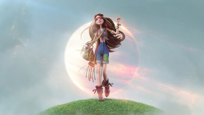 Girl, hippie, beauty, 3D (horizontal)