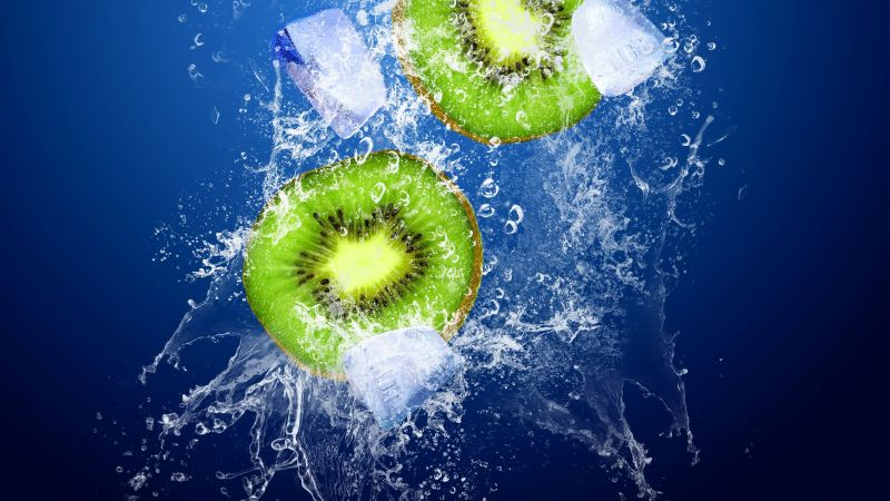 kiwi, ice, underwater, 4k (horizontal)