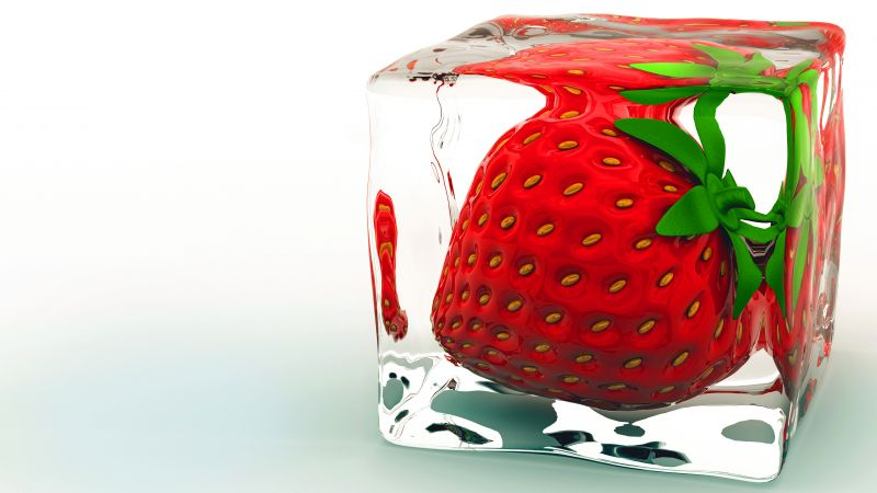 strawberry, ice, 8k (horizontal)