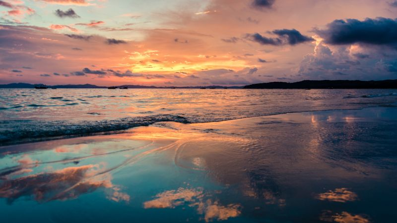 sunset, ocean, beach, sky, clouds, 4k (horizontal)