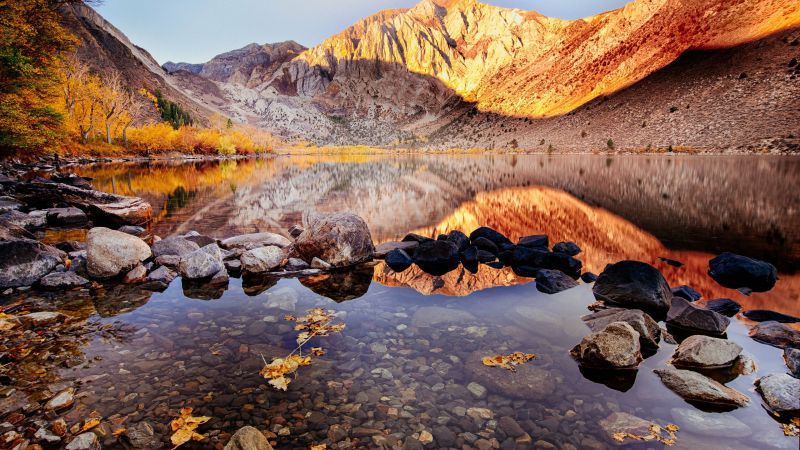 Convict Lake, autumn, Mount Morriso, California, 4k (horizontal)
