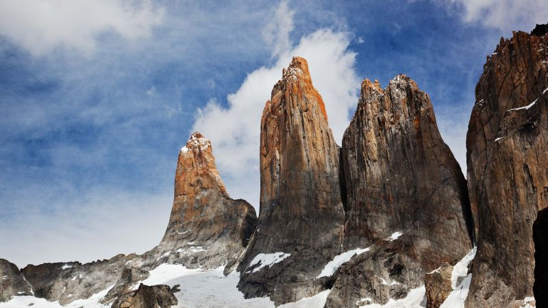 Torres del Paine, Chile, sky, mountains, 4k (horizontal)