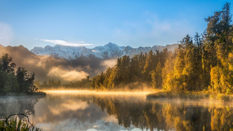 autumn, fog, forest, lake, mountains, 4k (horizontal)