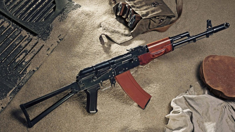 AK-74, Kalashnikov, AK-47, assault rifle, Russia, USSR, ammunition, sand (horizontal)