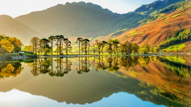 Lake Buttermere, National Park, Cumbria, England, mountains, 4k (horizontal)