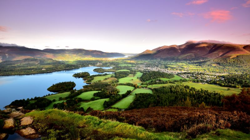 Keswick, mountains, lake, field, trees, 8k (horizontal)