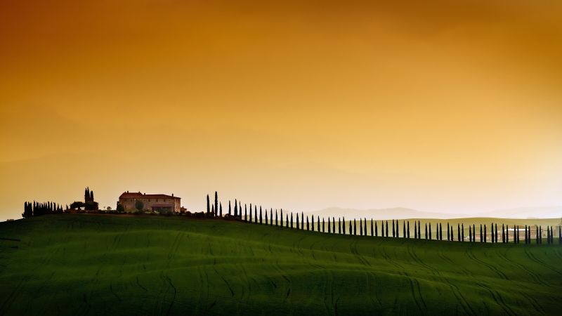 Tuscany, Italy, Europe, sky, field, 5k (horizontal)