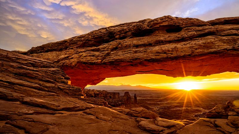 Mesa Arch, Utah, USA, mountains, sunrise, 8k (horizontal)