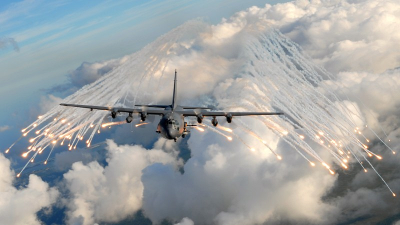 AC-130, air support, gunship, Lockheed, U.S. Air Force, ground-attack, aircraft, flares (horizontal)