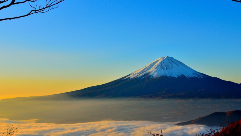 volcano, Fuji, Japan, mountains, fog, 4k (horizontal)