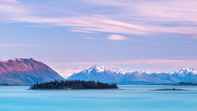 Lake Tekapo, New Zealand, mountains, sky clouds, 8k (horizontal)