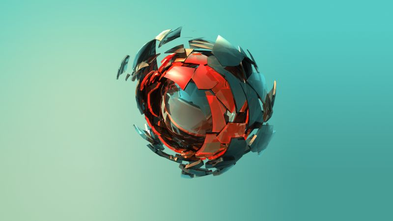 sphere, 3D, red, green, HD (horizontal)