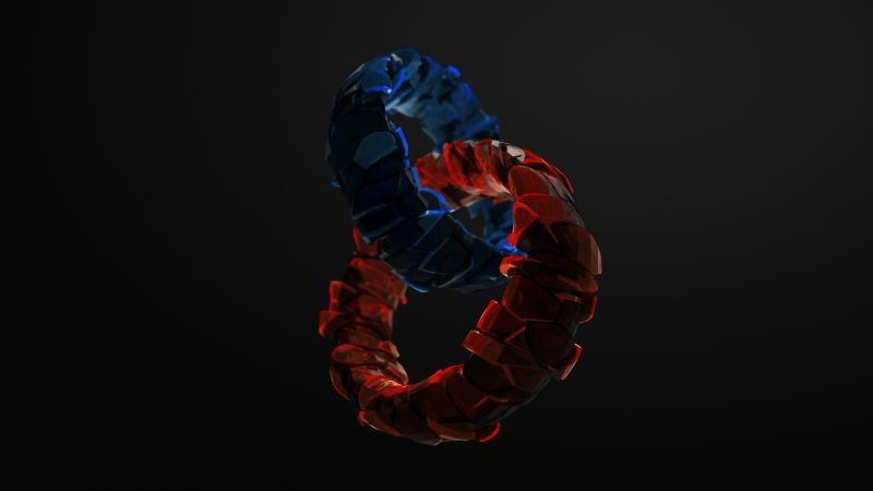 rings, 3D, blue, red, glass, HD (horizontal)