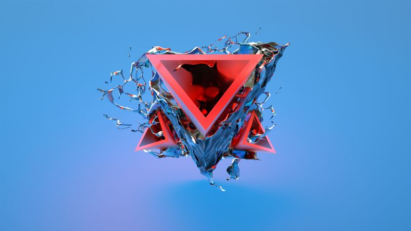 triangle, 3D, red, blue, HD (horizontal)