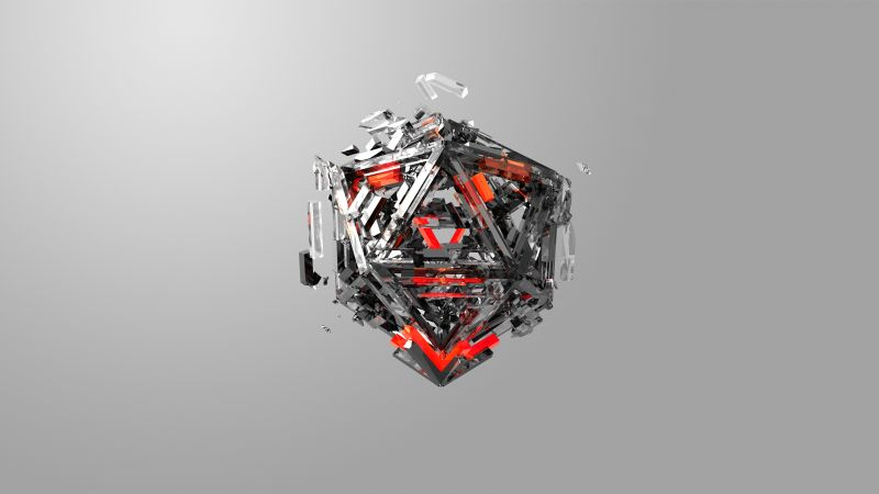 triangles, 3D, red, gray, HD (horizontal)