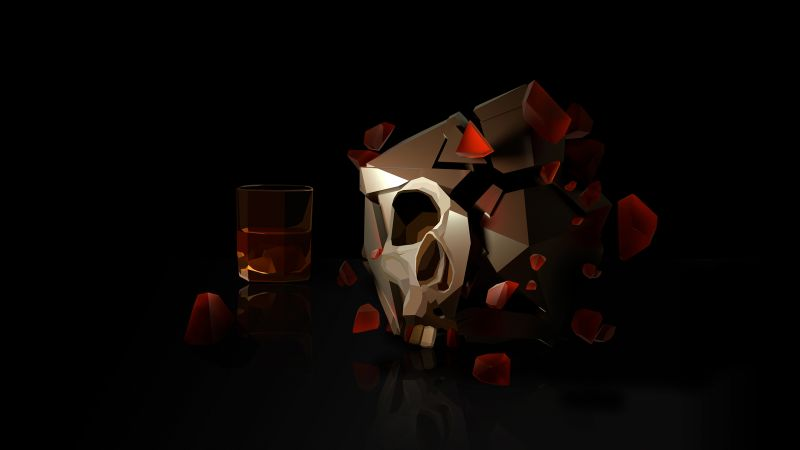 skull, 3D, glass, HD (horizontal)