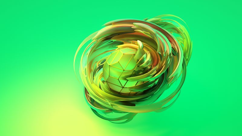 apple dreams, 3D, sphere, green, HD (horizontal)